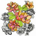 Garden flowers embroidery design
