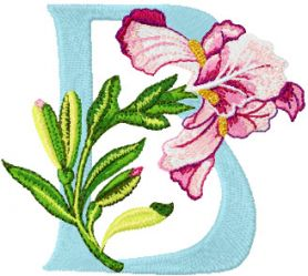 Iris Letter B machine embroidery design