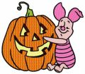 Piglet with pumpkin embroidery design