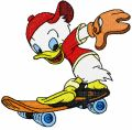 Duck on a Skateboard embroidery design