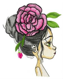 Teen with huge peony hair decoration machine embroidery design