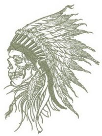 Skull with warbonnet machine embroidery design
