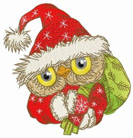 Owl in Santa hat with presents machine embroidery design