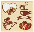Coffee set embroidery design