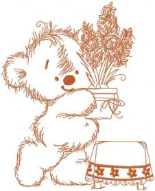 Teddy Bear is preparing for the holidays embroidery design 2