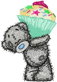 Teddy bear cupcake machine embroidery design