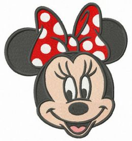 Minnie with polka dot bow machine embroidery design