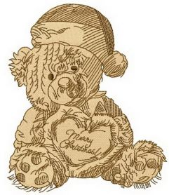 Old bear toy 10 machine embroidery design