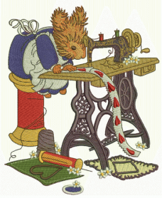Squirrel sewing machine embroidery design