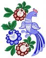Fantastic bird and flowers embroidery design