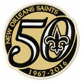 New Orleans Saints 50th anniversary machine embroidery design