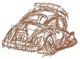 Crashed car machine embroidery design