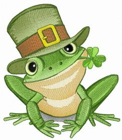 Irish frog machine embroidery design