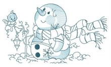 Winter, snowman and lantern