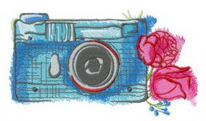 Blue camera and roses