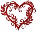 Heart wrapped up by leaves embroidery design