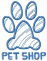 Paw print pet shop embroidery design