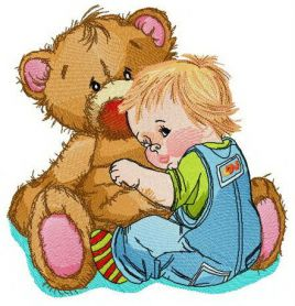 Baby boy with huge teddy bear machine embroidery design