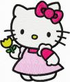 Hello Kitty with Yellow Tulip embroidery design