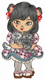 Japanese girl with cats machine embroidery design