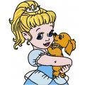 Little Princess with small dog  embroidery design