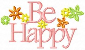 Be happy free machine embroidery design