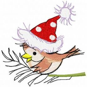 Small Christmas bird with hat free embroidery design