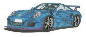 Blue racing car machine embroidery design