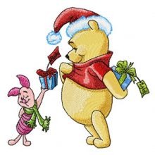 Winnie Pooh and Piglet with gifts