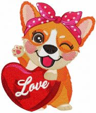 Corgi with red heart