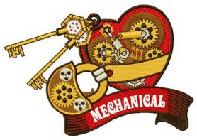 Mechanical heart 4 machine embroidery design