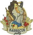 Barbecue party embroidery design