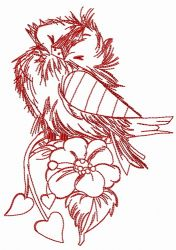 Ruffled sparrow one color embroidery design