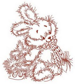 Fluffy bunny with tiny fir tree embroidery design