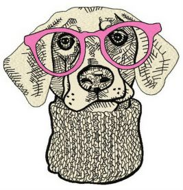 Hipster dog 3 machine embroidery design