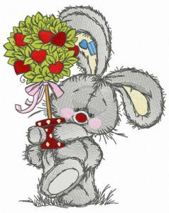 Bunny with Valentine tree