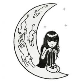 Emily the Strange on the Moon machine embroidery design