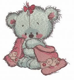 Teddy bear after shower machine embroidery design