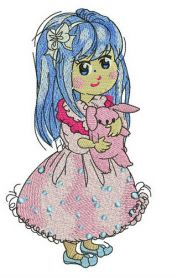 Girl in lush pink dress machine embroidery design