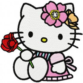 Hello Kitty with Rose machine embroidery design