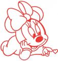 Cute Minnie with heart embroidery design