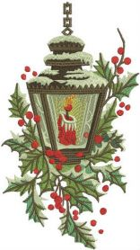Candle in snowy lantern machine embroidery design