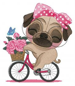 Pug-dog riding bike machine embroidery design