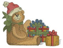 Teddy bear with Christmas gifts