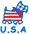 Happy Dog USA style embroidery design
