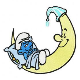 Smurf Sleeping on the Moon machine embroidery design