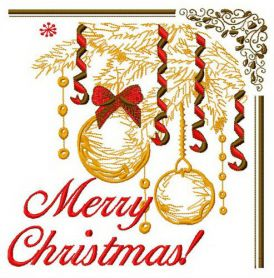 Merry Christmas postcard 3 machine embroidery design