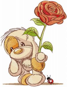 Baby dog with rose