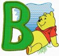 Winnie Pooh letter B free machine embroidery