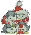 Penguin's Christmas time embroidery design